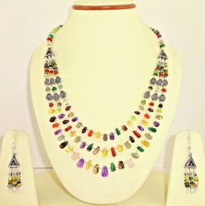 Necklace earrings natural rose quartz amethyst citrine lapis multi gemstone