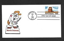 USA 1989 HAND PAINTED NORTH DAKOTA RICHARD ELLIS ANIMATED FIRST DAY COVER