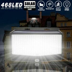 468 LED Wall Lights Solar Waterproof Motion Sensor Outdoor Garden Fence Lights