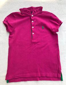 girl's ralph Lauren Polo shirt Sz 5 Pink with ruffle collar & green trim EUC