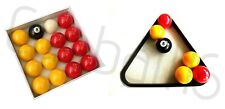 """REDS AND YELLOWS 2"""" English STANDARD SIZE POOL TABLES BALLS SET With TRIANGLE"""