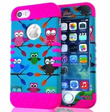 For iPhone SE 5S HARD & SOFT HIGH IMPACT RUGGED CASE COVER PINK GREEN TREE OWLS