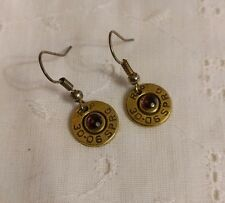 Rockabilly Bullet Shotgun Shell Dangle Earrings Brass with Purple Crystal OOAK