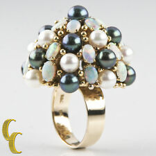 18k Yellow Gold Cultured Freshwater Pearl  Opal Dome Cocktail Ring Gift for Her!