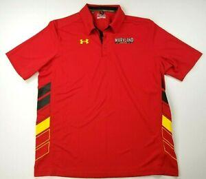 Maryland Terrapins Under Armour Loose Heat Gear NCAA Polo Golf Shirt Mens 2XL