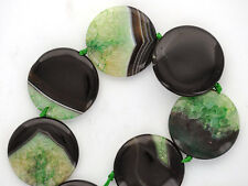 "1 Puffed Coin Disc GREEN and BLACK AGATE Focal Bead 34mm, 1-3/8"" dia gag0018"