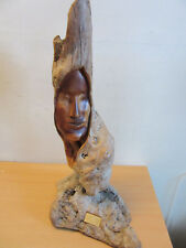 Vintage Luis Antonio Lady of the Forest 1980 Carved womans face wooden sculpture