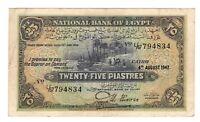 Vintage Banknote WWII era Egypt 1942 25 Piastres Pick 10c US Seller