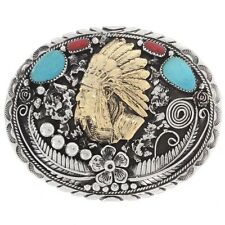 Navajo Design Gold Indian Chief Turquoise Belt Buckle by V.Blackgoat