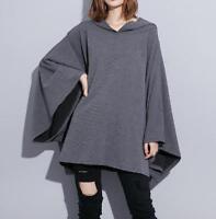 Women's Hooded Asymmetric Hem Outwear Batwing Baggy Hooded Cloak Cape Sweatshirt
