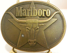 "Vintage 1987 Marlboro Oval Brass Belt Buckle 3.25"" x 2.5"" Good Condition"
