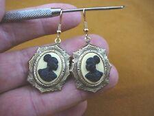 (CAE1-33) RARE African American LADY ivory + black CAMEO dangle Earrings JEWELRY