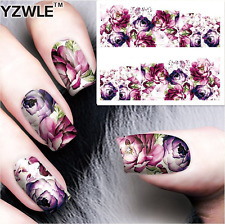 Nail Art Water Decals Stickers Transfers Violet Purple Flowers (A-68)