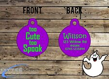 "Halloween Dog ID Collar Tag ""Too Cute To Spook"" - Double Sided Pet Charm Tag"
