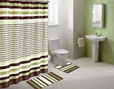 SHOWER CURTAIN MATCHING COVERED FABRIC HOOKS BATHROOM SET 13PC WINRY SAGE