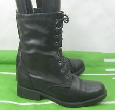 "new lady Black 1""Low Heel Lace Up Round Toe Sexy Combat Ankle Boot Size 9"