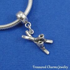 .925 Sterling Silver SKIS AND BOOTS Dangle Bead CHARM fits EUROPEAN Bracelet