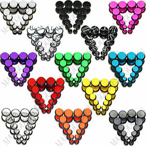 "V123 Acrylic Fake Cheaters Illusion Faux 16G Ear Plugs 4G 2G 0G 00G 7/16"" 1/2"""