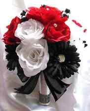 17 pieces Wedding Bouquet Bridal Bouquets Silk flowers RED WHITE BLACK DAISY