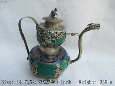 Chinese ancient Tibet silver dragon monkey butterfly jade teapot