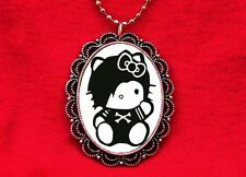 HELLO EMO PUNK KITTY CAT ROCKER PENDANT NECKLACE GOTH