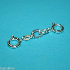 "Chain Large Extenders Two 10mm Spring Clasps 6 pcs 1.5"" Silver 7x9mm Oval Rolo"