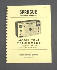 SPRAGUE TO-4 TO4 Tel-Ohmike Capacitor Analyzer Manual