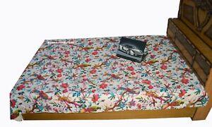 New Indien Cotton Handmade Bed Cover Blanket Ethnic Bird Print Kantha Quilt Art