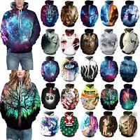 Mens Womens 3D Print Couples Hoodie Sweatshirt Jacket Coat Pullover Jumper Tops