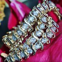 "14k yellow gold tennis bracelet 3.00ct natural diamond 7.0"" vintage 8.6gr"