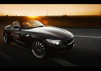 BLACK BMW Z4 ROADSTER NEW A2 CANVAS GICLEE ART PRINT POSTER