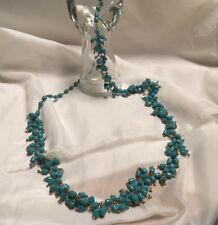 """Vintage Blue Turquoise Teal Glass Bead Necklace 38"""" Long"""