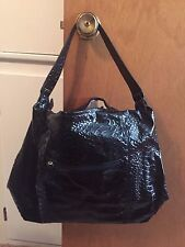 Chi black snake skin embossed hand bag with fringe NW0T