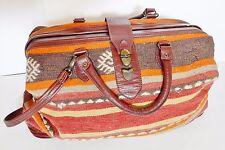 VINTAGE CARPET BAG Travel Duffle Luggage Southwest Style Turkish Wool & Leather