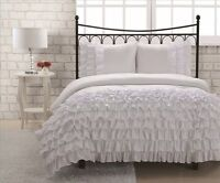 Miley 3 Piece Pleated Ruffled Comforter Set w/ Pillow Shams Soft Bedding White