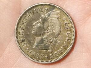 1937 - 25 CENTAVOS 6 1/4 GRAMOS Dominican Republic Silver Coin #A25