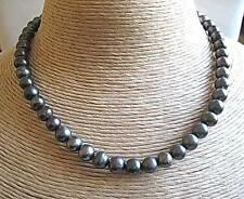 Genuine Blue/Grey Freshwater Pearl Necklace - Silver Clasp - 16""