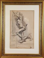I1-034. NAKED MAN. CHARCOAL DRAWING. FRANCESC GIMENO. XIX CENTURY.