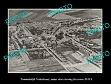 OLD POSTCARD SIZE PHOTO SOMMELSDIJK NETHERLANDS HOLLAND TOWN AERIAL VIEW 1940 2