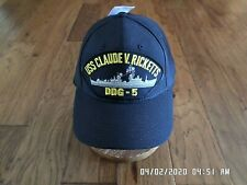 New listing Uss Claude Ricketts Ddg-5 U.S Navy Ship Hat Official Military Ball Cap Usa Made
