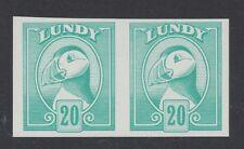 Lundy isole. 20p Colore Turchese-Verde prova Imperforato COPPIA. fine Gomma integra, non linguellato.