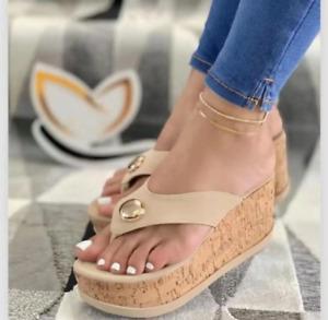 Women's Platform Sandals Thong Flip Flops Slipper High Wedge Heels Shoes Slip On
