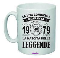 pazza idea Grembiule Nero Uomo Donna Scritta Nascita Leggende 40 Anni 1979 Compleanno ETA