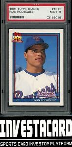 "1991 Topps Traded ROOKIE RC Ivan ""Pudge"" Rodriguez #101T PSA 9"
