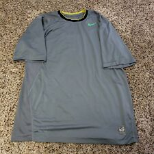 Nike Pro Combat Boys XL Shirt Dri-Fit Fitted Short Sleeve Compression Gray Green