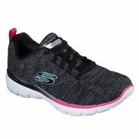 Skechers Women's Sport Flex Appeal 3.0 Reinfall Walking Shoe Black Size 8