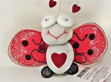 "FLUTTERING FRIENDS Happy Heart Ladybug Spring Danglers ladybird soft 7"" Wingspan"