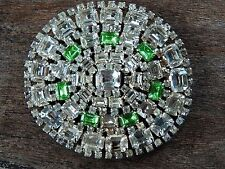 "Vintage Large 3"" Oval Emerald-cut Rhinestone PIN Brooch Prong-set Clear & Green"