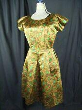 R & K Originals Vtg 50-60s Brown/Green Print Satin Silk Dress-Bust 36/XS-S