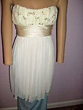 City Triangles White with Lace and Gold Sequin special occasion Empire Waist-Med